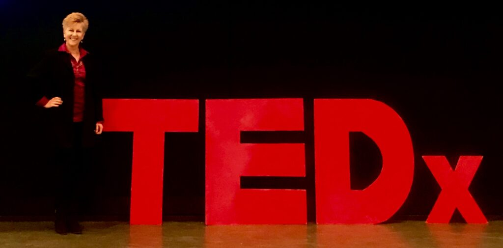 Mary Fran on TEDx stage